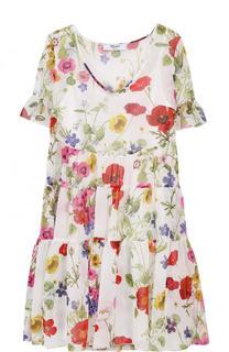 Мини-платье свободного кроя с цветочным принтом Blugirl