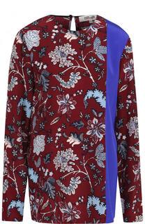 Шелковая блуза с круглым вырезом и принтом Diane Von Furstenberg