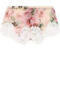 Шелковые мини-шорты с принтом и кружевной отделкой Dolce & Gabbana
