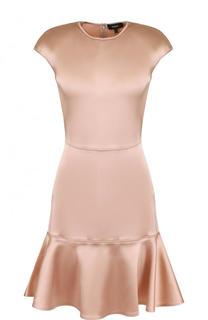 Однотонное приталенное мини-платье с оборкой Theory