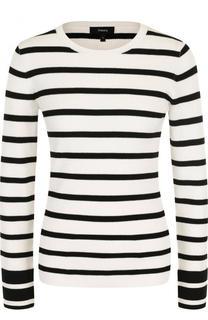 Приталенный пуловер в полоску с круглым вырезом Theory