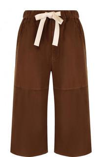 Укороченные замшевые брюки с эластичным поясом Loewe