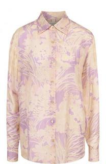Шелковая блуза свободного кроя с принтом Dries Van Noten