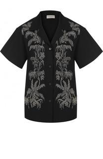 Хлопковая блуза с коротким рукавом и вышивкой бисером Dries Van Noten
