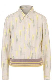 Блуза с эластичным поясом и принтом Dries Van Noten