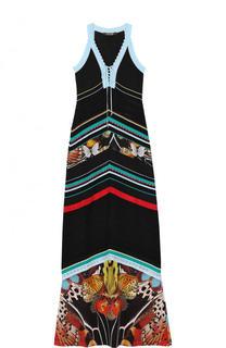Вязаное платье-макси с шелковой вставкой Roberto Cavalli