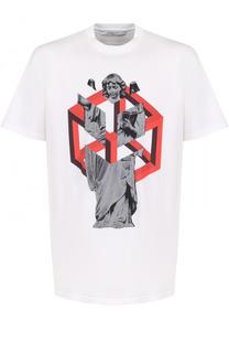 Хлопковая футболка свободного кроя с принтом Givenchy