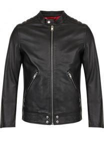 Кожаная куртка с укороченным рукавом и воротником-стойкой Diesel