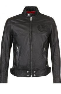 Кожаная куртка на молнии с воротником-стойкой Diesel