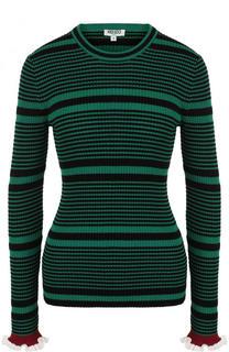 Приталенный хлопковый пуловер с круглым вырезом Kenzo