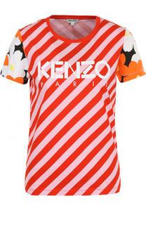 Хлопковая футболка в полоску с логотипом бренда Kenzo