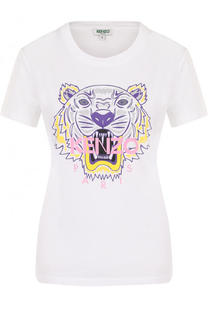 Хлопковая футболка с принтом и логотипом бренда Kenzo