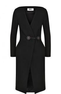 Приталенное однотонное пальто Mm6