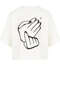Укороченная хлопковая футболка с принтом Mm6