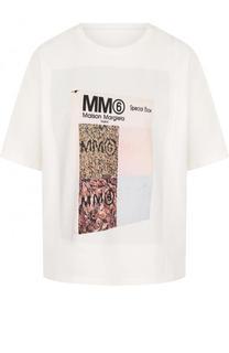Хлопковая футболка свободного кроя с принтом Mm6