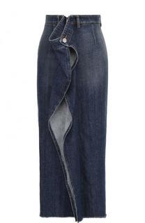 Джинсовая юбка-миди с потертостями Mm6
