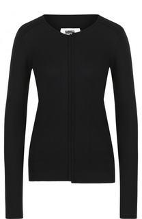 Пуловер фактурной вязки с круглым вырезом Mm6