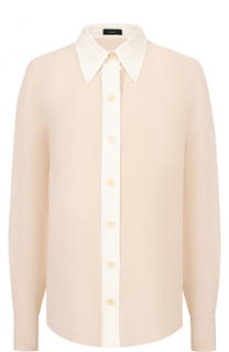 Шелковая блуза свободного кроя с контрастной отделкой Joseph