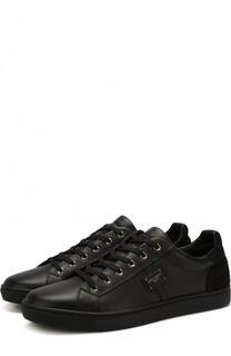 Кожаные кеды с замшевой вставкой на шнуровке Dolce & Gabbana