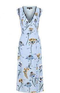 Приталенное платье-миди с V-образным вырезом и принтом Markus Lupfer