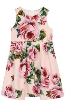 Хлопковое платье с цветочным принтом Dolce & Gabbana