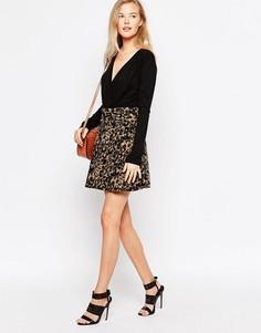 Короткая расклешенная юбка с принтом Ganni - Кремовый