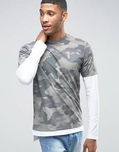 Двуслойная камуфляжная футболка с длинными рукавами River Island - Зеленый