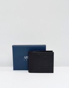 Черный кожаный кошелек с тисненым логотипом Armani Jeans - Черный