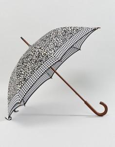 Зонт с леопардовым принтом по краям Fulton Kensington 2 - Черный