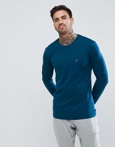 Хлопковый лонгслив стандартного кроя Calvin Klein - Синий