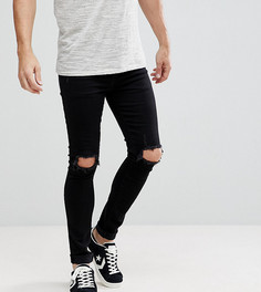 Черные облегающие джинсы с рваной отделкой Brooklyn Supply Co - Черный