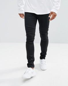 Черные супероблегающие байкерские джинсы с покрытием ASOS - Черный