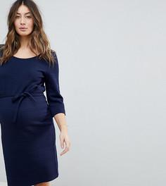 Платье с рукавами 3/4 и завязкой на талии Mamalicious - Темно-синий Mama.Licious