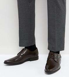 Коричневые туфли на шнуровке для широкой стопы из искусственной кожи с тиснением ASOS - Коричневый