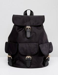 Рюкзак в стиле casual с пряжками 7X - Черный