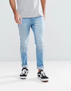 Светлые супероблегающие джинсы цвета индиго LDN DNM - Синий