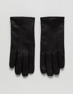Черные кожаные перчатки Selected Homme - Черный