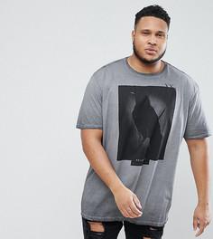 Серая футболка с принтом ворона Religion PLUS - Серый