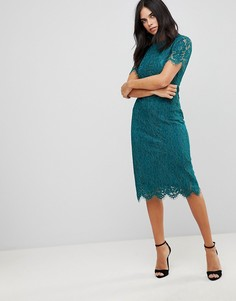Платье миди с кружевным верхним слоем Club L - Зеленый