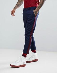 Темно-синие зауженные брюки с полосками по бокам ASOS - Темно-синий