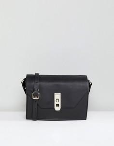 Черная кожаная сумка с золотистой застежкой Paul Costelloe - Черный