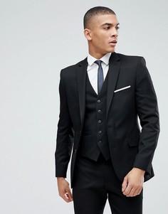 Черный приталенный пиджак Moss London - Черный