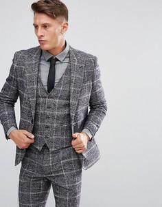 Облегающий пиджак в клетку Moss London - Серый