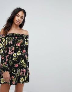 Платье с длинными рукавами и цветочным принтом AX Paris - Черный