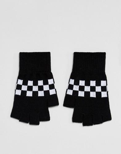 Перчатки без пальцев в клетку ASOS - Черный
