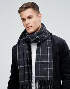 Серый шарф в клетку ASOS - Серый