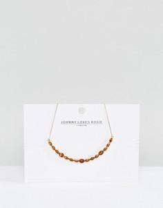 Золотистое ожерелье с искусственными кристаллами Johnny Loves Rosie - Золотой