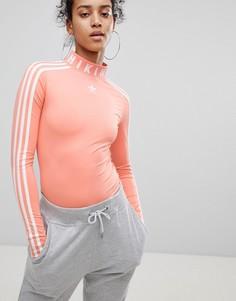 Боди кораллового цвета adidas Originals X Pharrell Williams Hu - Розовый