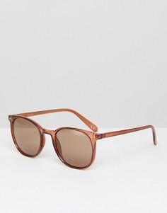 Прозрачно-коричневые квадратные солнцезащитные очки с коричневыми стеклами ASOS - Коричневый