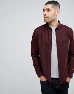 Бордовая рубашка из смешанной шерсти с шевронным узором ASOS - Красный